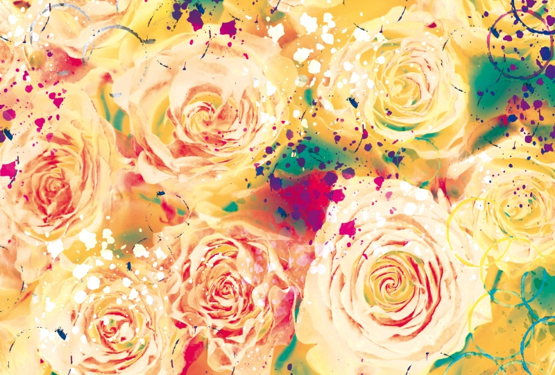 Photobooth backdrop Yellow Roses